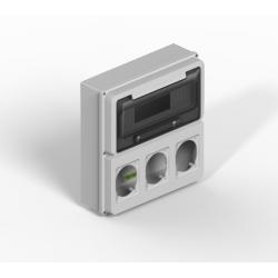 Caja genrod ip65 12p con 3 modulos para tomas